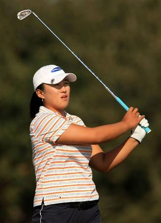 DAYTONA BEACH, FL - DECEMBER 06:  Amy Yang of Korea watches her tee shot on the 14th hole during the fourth round of the LPGA Qualifying School at LPGA International on December 6, 2008 in Daytona Beach, Florida.  (Photo by Scott Halleran/Getty Images)