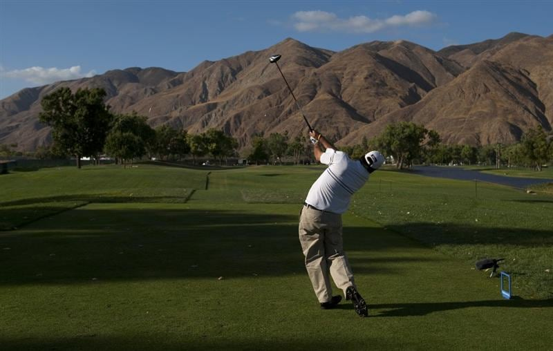 SAN JACINTO, CA - OCTOBER 04: Jerod Turner makes a tee shot on the 16th hole during the final round of the 2009 Soboba Classic at The Country Club at Soboba Springs on October 4, 2009 in San Jacinto, California. (Photo by Robert Laberge/Getty Images)