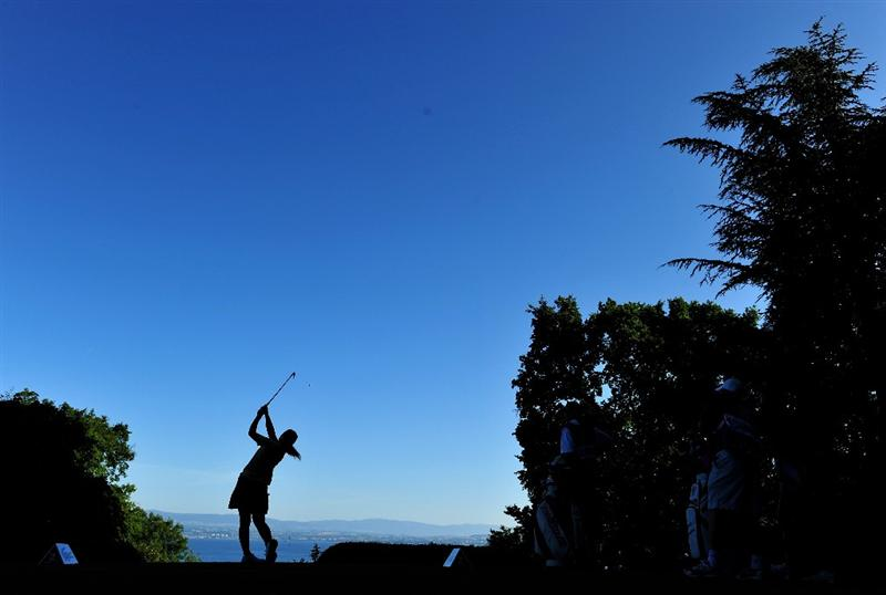 EVIAN-LES-BAINS, FRANCE - JULY 26:  Mika Miyazoto of Japan plays her tee shot on the second hole during the final round of the Evian Masters at the Evian Masters Golf Club on July 25, 2009 in Evian-les-Bains, France.  (Photo by Stuart Franklin/Getty Images)