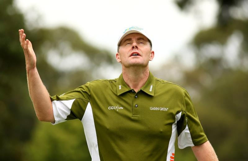 JOHANNESBURG, SOUTH AFRICA - JANUARY 11:  Joakim Haeggman of Sweden reacts to a putt on the 8th green during the final round of the Joburg Open at Royal Johannesburg and Kensington Golf Club on January 11, 2009 in Johannesburg, South Africa.  (Photo by Richard Heathcote/Getty Images)