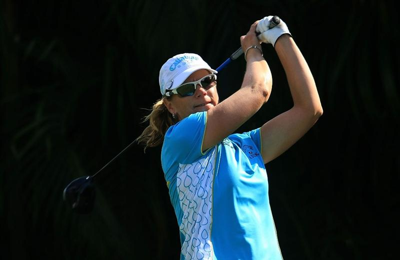 WEST PALM BEACH, FL - NOVEMBER 21:  Annika Sorenstam of Sweden hits her tee shot on the ninth hole during the second round of the ADT Championship at the Trump International Golf Club on November 21, 2008 in West Palm Beach, Florida.  (Photo by Scott Halleran/Getty Images)