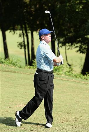 CONOVER, NC - OCTOBER 03:  Tom Kite hits a tee shot on the third hole during the final round of the Ensure Classic at the Rock Barn Golf & Spa on October 3, 2010 in Conover, North Carolina.  (Photo by Christian Petersen/Getty Images)