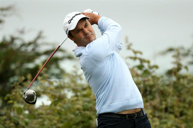 PEBBLE BEACH, CA - JUNE 14:  Simon Khan of England hits a tee shot during a practice round prior to the start of the 110th U.S. Open at Pebble Beach Golf Links on June 14, 2010 in Pebble Beach, California.  (Photo by Ross Kinnaird/Getty Images)