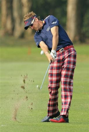 HONG KONG - NOVEMBER 19: Ian Poulter of England plays his 2nd shot on the 15th hole during day two of the UBS Hong Kong Open at The Hong Kong Golf Club on November 19, 2010 in Hong Kong, Hong Kong.  (Photo by Stanley Chou/Getty Images)