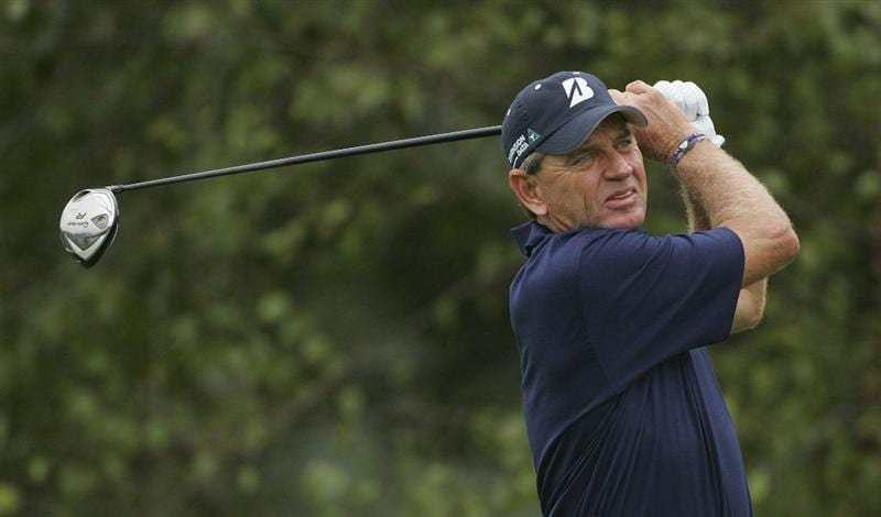 CARY, NC - SEPTEMBER 26:  Nick Price watches his drive during the second round of the SAS Championship at Prestonwood Country Club held on September 26, 2009 in Cary,  North Carolina.  (Photo by Michael Cohen/Getty Images)