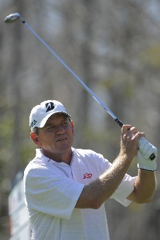 NAPLES, FL - FEBRUARY 16: Nick Price tees off on the ninth hole during the second round of the ACE Group Classic at Quail West on February 16, 2008 in Naples, Florida. (Photo by Scott A. Miller/Getty Images)