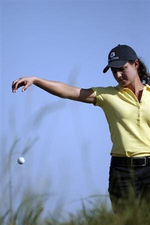 PRATTVILLE, AL - SEPTEMBER 25:   Lorena Ochoa of Mexico takes a drop on the 15th hole because of an unplayable lie during first round play in the Navistar LPGA Classic at the Robert Trent Jones Golf Trail at Capitol Hill on September 25, 2008 in  Prattville, Alabama.  (Photo by Dave Martin/Getty Images)