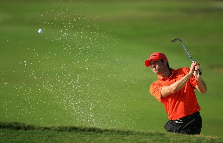 MIAMI - MARCH 19:  Sergio Garcia of Spain plays out of the greenside bunker on the 12th hole during practice for the 2008 World Golf Championships CA Championship at the Doral Golf Resort & Spa, on March 19, 2008 in Miami, Florida.  (Photo by Warren Little/Getty Images)
