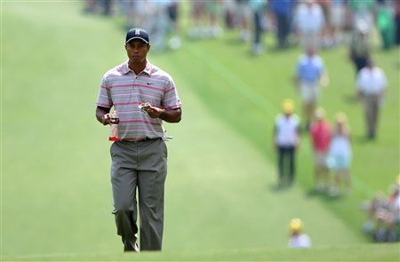 AUGUSTA, GA - APRIL 10:  Tiger Woods walks up the first fairway during the first round of the 2008 Masters Tournament at Augusta National Golf Club on April 10, 2008 in Augusta, Georgia.  (Photo by Andrew Redington/Getty Images)