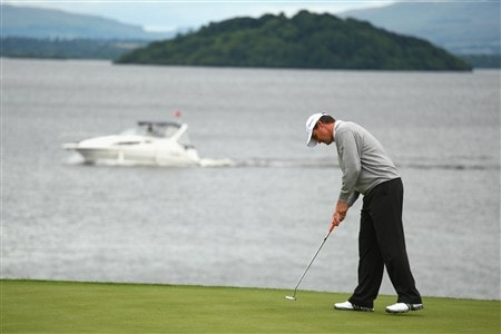 LUSS, UNITED KINGDOM - JULY 12:  Paul Lawrie of Scotland putts out on the 6th green during the Third Round of The Barclays Scottish Open at Loch Lomond Golf Club on July 12, 2008 in Luss, Scotland. (Photo by Richard Heathcote/Getty Images)