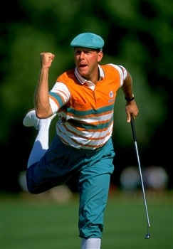 1991:  Payne Stewart of the USA celebrates during the US Open at the Hazeltine National Golf Club in Minneapolis, Minnesota, USA. Stewart won the event with a score of 282. \ Mandatory Credit: David  Cannon/Allsport