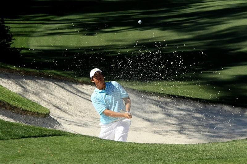AUGUSTA, GA - APRIL 09:  Amateur Byeong-Hun An of South Korea plays a bunker shot on the tenth hole during the second round of the 2010 Masters Tournament at Augusta National Golf Club on April 9, 2010 in Augusta, Georgia.  (Photo by David Cannon/Getty Images)