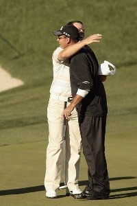 Paul Casey (L) and Rocco Mediate hug after the third round of the 2007 Arnold Palmer Invitational at the Bay Hill Club and Lodge in Orlando, Florida on March 17, 2007. PGA TOUR - 2007 Arnold Palmer Invitational - Third RoundPhoto by Pete Fontaine/WireImage.com