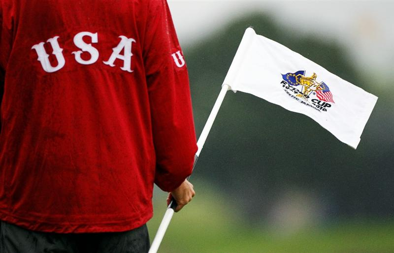 NEWPORT, WALES - SEPTEMBER 29:  General detail of a Team USA jacket and a flagstick during a practice round prior to the 2010 Ryder Cup at the Celtic Manor Resort on September 29, 2010 in Newport, Wales.  (Photo by Sam Greenwood/Getty Images)