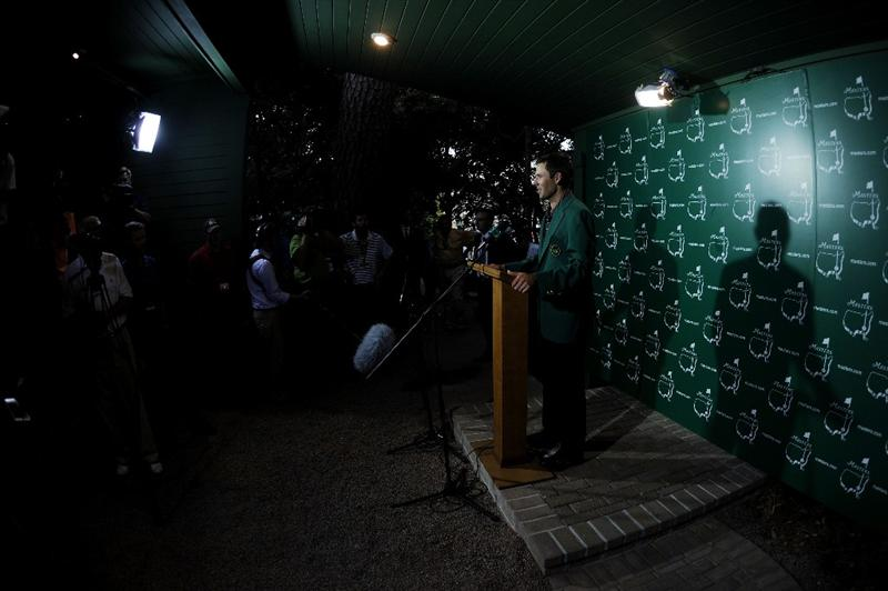 AUGUSTA, GA - APRIL 10:  Charl Schwartzel of South Africa speaks with the media after his two-stroke victory at the 2011 Masters Tournament at Augusta National Golf Club on April 10, 2011 in Augusta, Georgia.  (Photo by Harry How/Getty Images)