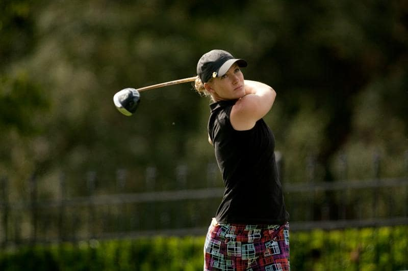 DANVILLE, CA - OCTOBER 16: Sarah Jane Smith of Australia of South Korea follows through on a tee shot during the third round of the CVS/Pharmacy LPGA Challenge at Blackhawk Country Club on October 16, 2010 in Danville, California. (Photo by Darren Carroll/Getty Images)