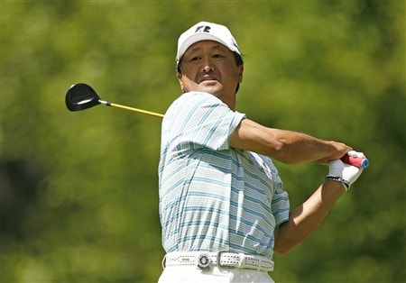 ROCHESTER, NY - MAY 24: Massy Kuramoto of Japan hits his tee shot on the 5th hole during the third round of the 69th Senior PGA Championship at Oak Hill Country Club - East Course on May 24, 2008 in Rochester, New York. (Photo by Hunter Martin/Getty Images)