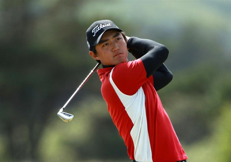 GULLANE, SCOTLAND - JUNE 18:  Jin Jeong of Korea tees off on the 13th hole during the semi final match against Matthew Nixon of England for The Amateur Championship at Muirfield Golf Club on June 18, 2010 in Gullane, Scotland.  (Photo by Warren Little/Getty Images)