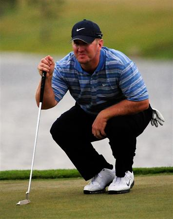 PALM COAST, FL - OCTOBER 31:  David Duval  looks over a birdie putt on the 18th hole during the second round of the Ginn sur Mer Classic at the Conservatory Golf Club on October 31, 2008 in Palm Coast, Florida.  (Photo by Sam Greenwood/Getty Images)