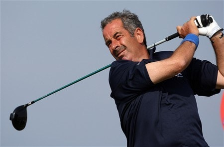 TROON, UNITED KINGDOM - JULY 25:  Sam Torrance of Scotland on the 6th tee during the second round of the Senior Open Championships at Royal Troon on July 25,2008 in Troon,Scotland.  (Photo by Ross Kinnaird/Getty Images)