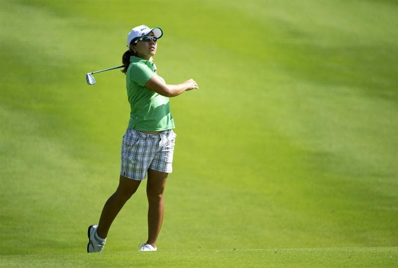 ROGERS, AR - SEPTEMBER 10:  Mika Miyazato of Japan makes an approach shot during the first round of the P&G NW Arkansas Championship at the Pinnacle Country Club on September 10, 2010 in Rogers, Arkansas.  (Photo by Robert Laberge/Getty Images)
