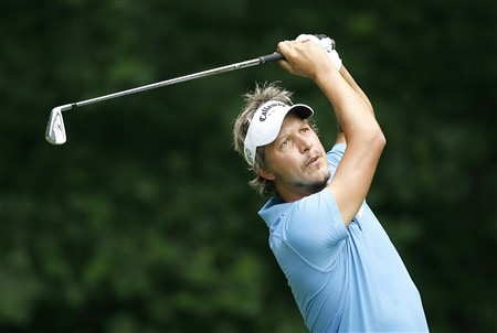 BETHESDA, MD - JULY 4: Fredrick Jacobson of Sweden hits his tee shot on the 13th hole during the second round of the AT&T National at Congressional Country Club on July 4, 2008 in Bethesda, Maryland. (Photo by Hunter Martin/Getty Images)