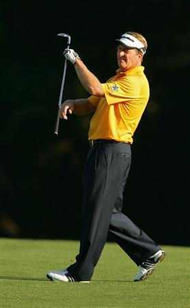 TIMONIUM, MD - OCTOBER 12: Fred Funk reacts to his second shot on the 16th hole during the final round of the Constellation Energy Senior Players Championship at Baltimore Country Club East Course held on October 12, 2008 in Timonium, Maryland (Photo by Michael Cohen/Getty Images)