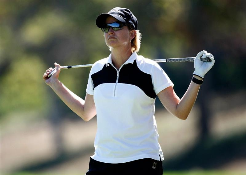 DANVILLE, CA - SEPTEMBER 25:  Karrie Webb of Australia watches her tee shot on the 7th hole land in the water during the second round of the CVS/pharmacy LPGA Challenge at Blackhawk Country Club on September 25, 2009 in Danville, California.  (Photo by Jonathan Ferrey/Getty Images)