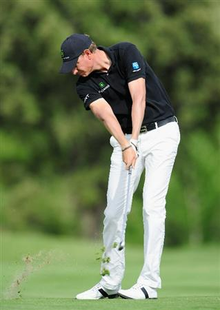 MADRID, SPAIN - MAY 27:  Maarten Lafeber of The Netherlands plays his approach shot on the 16th hole during the first round of the Madrid Masters at Real Sociedad Hipica Espanola Club De Campo on May 27, 2010 in Madrid, Spain.  (Photo by Stuart Franklin/Getty Images)