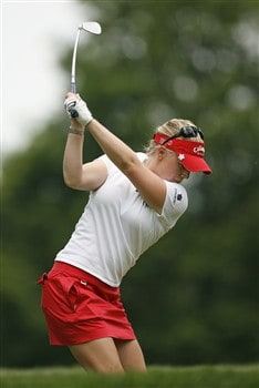 ROCHESTER, NY - JUNE 21: Morgan Pressel  hits her tee shot on the 9th hole during the third round of the Wegmans LPGA at Locust Hill Country Club on June 21, 2008 in Rochester, New York. (Photo by Hunter Martin/Getty Images)