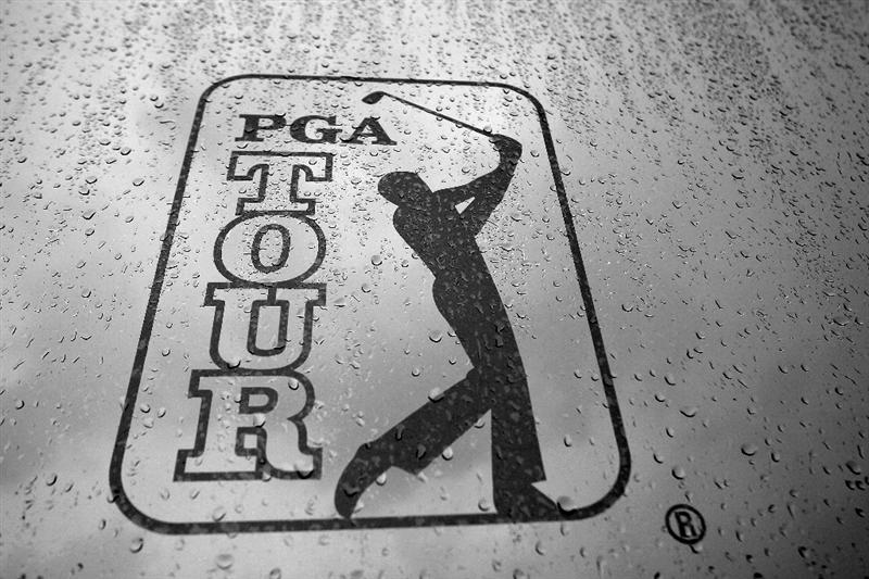 PONTE VEDRA BEACH, FL - MAY 14:  (EDITORS NOTE: Image has been converted to black and white.) A PGA TOUR logo is seen after play was suspended due to severe storms during the third round of THE PLAYERS Championship held at THE PLAYERS Stadium course at TPC Sawgrass on May 14, 2011 in Ponte Vedra Beach, Florida.  (Photo by Streeter Lecka/Getty Images)
