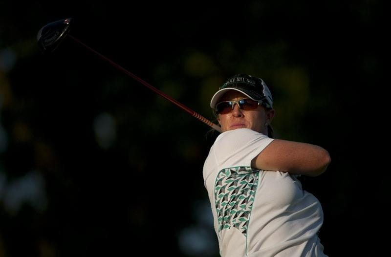 ROGERS, AR - SEPTEMBER 10:  Moira Dunn makes a tee shot on the 18th hole during the first round of the P&G NW Arkansas Championship at the Pinnacle Country Club on September 10, 2010 in Rogers, Arkansas.  (Photo by Robert Laberge/Getty Images)