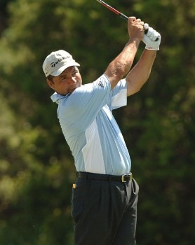 Jose Coceres hits from the ninth tee during the final round of the 2005 Valero Texas Open at La Cantera in at La Cantera Country Club in San Antonio, Texas September 25, 2005.Photo by Steve Grayson/WireImage.com
