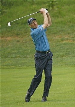 BETHESDA, MD - JULY 6: Jim Furyk hits his second shot on the 11th hole during the final round of the AT&T National at Congressional Country Club on July 6, 2008 in Bethesda, Maryland. (Photo by Hunter Martin/Getty Images)