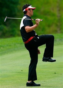 SILVIS, IL - JULY 12:  Eric Axley reacts after almost chipping in for a birdie on the 12th green during the third round of the 2008 John Deere Classic at TPC at Deere Run on Saturday, July 12, 2008 in Silvis, Illinois.  (Photo by Kevin C. Cox/Getty Images)