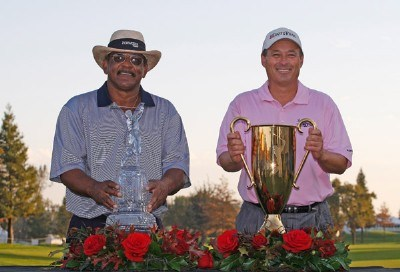 Jim Thorpe (L) wins the Charles Schwab Cup Championship and Loren Roberts wins the season-long Charles Schwab Cup competition during the fourth round of the Charles Schwab Cup Championship at Sonoma Golf Club on October 28, 2007, in Sonoma, California. Champions Tour - 2007 Charles Schwab Cup Championship - Final RoundPhoto by Chris Condon/PGA TOUR/WireImage.com