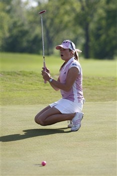 BROKEN ARROW, OK - MAY 04: Paula Creamer reacts after missing a putt on the first playoff hole during the final round of the SemGroup Championship presented by John Q. Hammons on May 4, 2008 at Cedar Ridge Country Club in Broken Arrow, Oklahoma. (Photo by G. Newman Lowrance/Getty Images)
