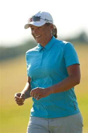 PRATTVILLE, AL - OCTOBER 10: Katherine Hull of Australia smiles after making a birdie putt at the sixth hole during the final round of the Navistar LPGA Classic at the Senator Course at the Robert Trent Jones Golf Trail on October 10, 2010 in Prattville, Alabama. (Photo by Darren Carroll/Getty Images)