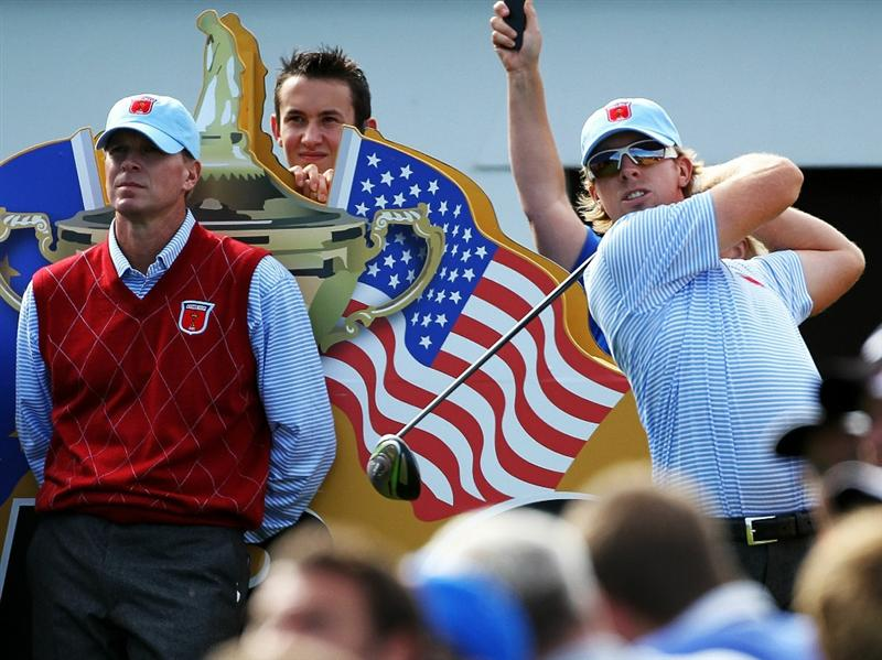 NEWPORT, WALES - SEPTEMBER 28:  Hunter Mahan of the USA hits a tee shot as Steve Stricker looks on during a practice round prior to the 2010 Ryder Cup at the Celtic Manor Resort on September 28, 2010 in Newport, Wales.  (Photo by Andy Lyons/Getty Images)