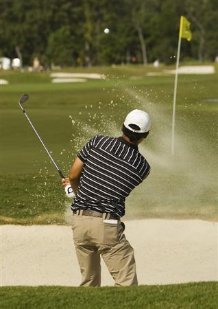 CHARLESTON, SC - OCTOBER 24: Won Joon Lee of Australia hits out of the bunker on the 11th hole during the third round of the Nationwide Tour Championship at Daniel Island on October 24, 2009 in Charleston, South Carolina. (Photo by Chris Keane/Getty Images)