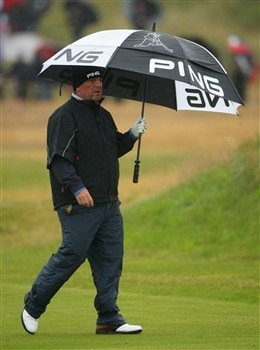 SOUTHPORT, UNITED KINGDOM - JULY 17:  Mark Calcavecchia of USA walks down the 1st hole during the First Round of the 137th Open Championship on July 17, 2008 at Royal Birkdale Golf Club, Southport, England.  (Photo by Andrew Redington/Getty Images)