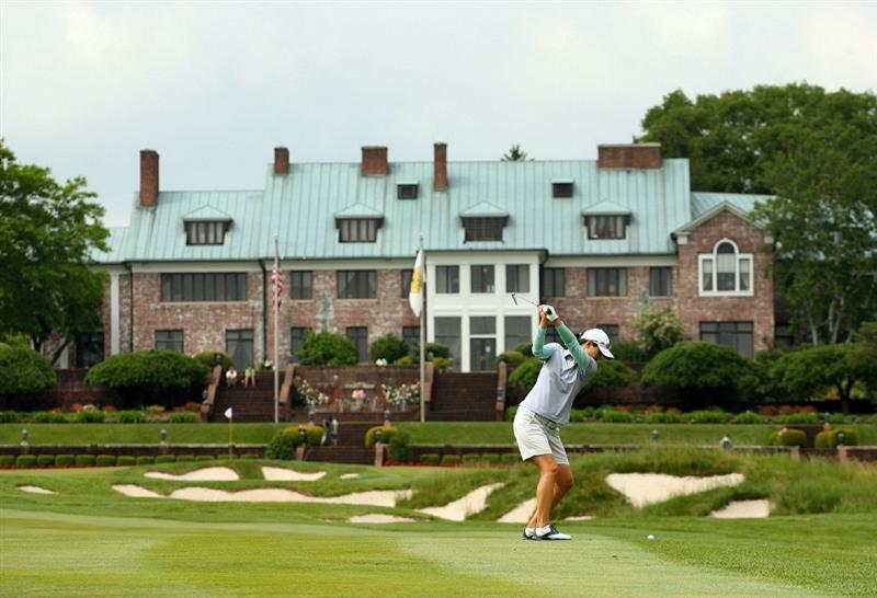 GLADSTONE, NJ - MAY 23: Sun Young Yoo of South Korea hits her second shot on the ninth hole during the final round of the Sybase Match Play Championship at Hamilton Farm Golf Club on May 23, 2010 in Gladstone, New Jersey. (Photo by Hunter Martin/Getty Images)