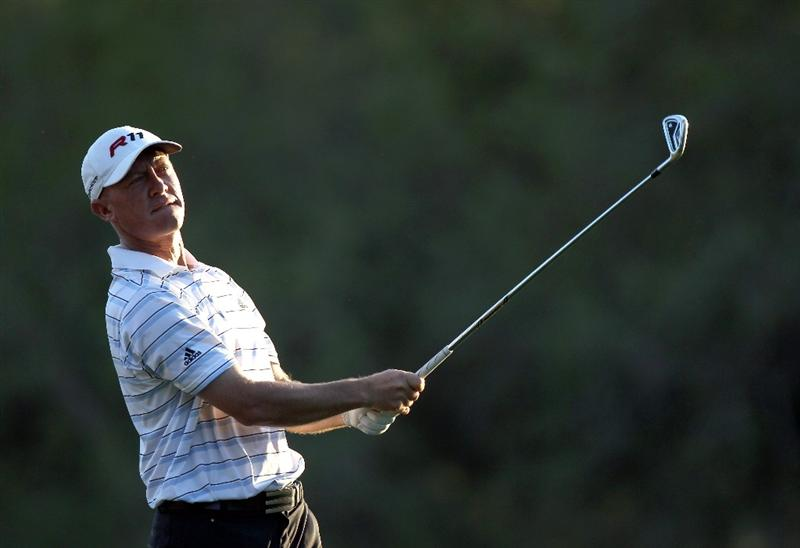 PALM HARBOR, FL - MARCH 17:  Nathan Green of Australia plays a shot on the 17th hole during the first round of the Transitions Championship at Innisbrook Resort and Golf Club on March 17, 2011 in Palm Harbor, Florida.  (Photo by Sam Greenwood/Getty Images)