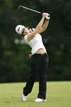 SYLVANIA, OH - JULY 12: Eun-Hee Ji of South Korea hits her third shot on the 18th hole during the third round of the Jamie Farr Owens Corning Classic at Highland Meadows Golf Club on July 12, 2008 in Sylvania, Ohio. (Photo by Hunter Martin/Getty Images)