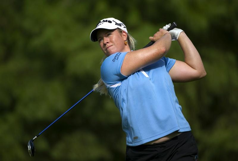 ROGERS, AR - SEPTEMBER 10:  Brittany Lincicome makes a tee shot during the first round of the P&G NW Arkansas Championship at the Pinnacle Country Club on September 10, 2010 in Rogers, Arkansas.  (Photo by Robert Laberge/Getty Images)