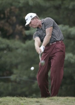 Steve Elkington during the final round of the 2005 PGA Championship at Baltusrol Golf Club in Springfield, New Jersey on August 14, 2005.Photo by Sam Greenwood/WireImage.com