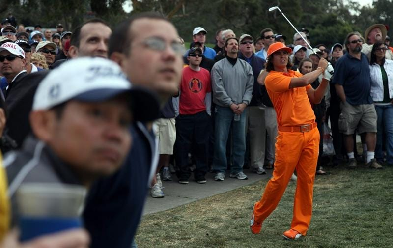 LA JOLLA, CA - JANUARY 30:  Rickie Fowler hits out of the rough on the 15th hole during the final round of the Farmers Insurance Open on January 30, 2011 in La Jolla, California.  (Photo by Donald Miralle/Getty Images)