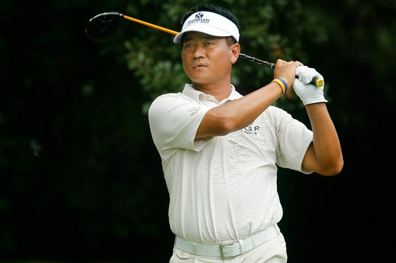 ATLANTA - SEPTEMBER 24:  K.J. Choi of South Korea hits his tee shot on the third hole during the second round of THE TOUR Championship presented by Coca-Cola at East Lake Golf Club on September 24, 2010 in Atlanta, Georgia.  (Photo by Scott Halleran/Getty Images)