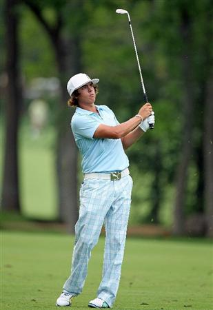 DUBLIN, OH - JUNE 03:  Rickie Fowler hits his second shot on the 14th hole during the first round of The Memorial Tournament presented by Morgan Stanley at Muirfield Village Golf Club on June 3, 2010 in Dublin, Ohio.  (Photo by Andy Lyons/Getty Images)
