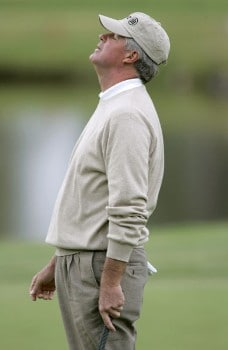 John Harris reacts to a missed putt on the first hole during the first round of the 2005 SAS Championship Friday, September 30, 2005, at Prestonwood Country Club in Cary, North Carolina.Photo by Grant Halverson/WireImage.com